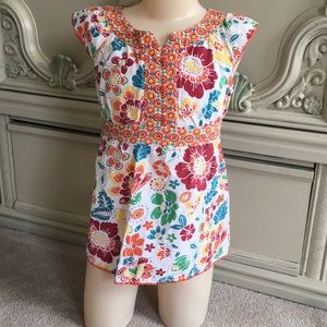 Girl's Cherokee Floral Print Blouse-M 7/8-Colorful